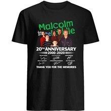 Malcom no filme middles 20th anniversary 2000-2020 elenco assinado presente fã obrigado presente para mulheres femininas unisex camiseta