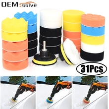 31Pcs Car Foam Drill Polishing Pad Kit for Car Polisher + M10 Drill adapter 3 Inch Waxing Buffing Pads Paint correction Tool Set