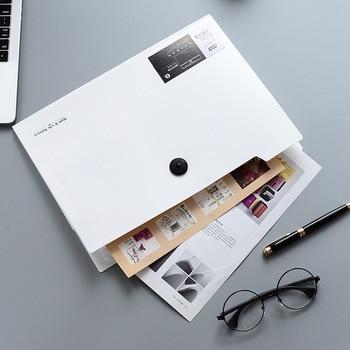 A4 folder binder  office organizers 5/12 pockets  PP Document organizer File folder a4 Fashinable white&black color 1