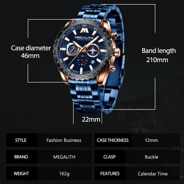 MEGALITH Sports Watches Men Aircraft Pointer Luminous Quartz Watch 30M Waterproof Blue Full Steel Military Wrist Watch With Box