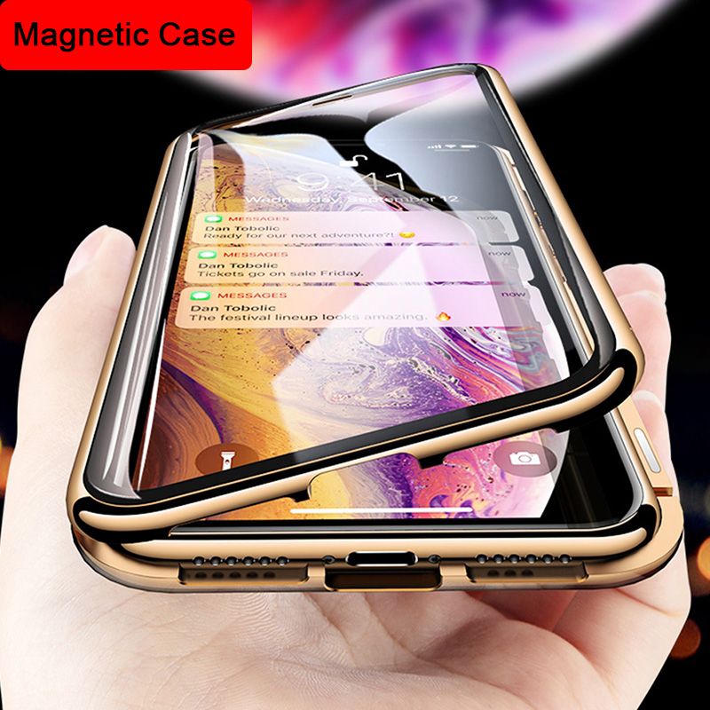 360 Magnetic Case For IPhone 7 8 Plus Tempered Glass Back Magnet Protective Case Cover For IPhone X XS Max XR On Smartphone Hull