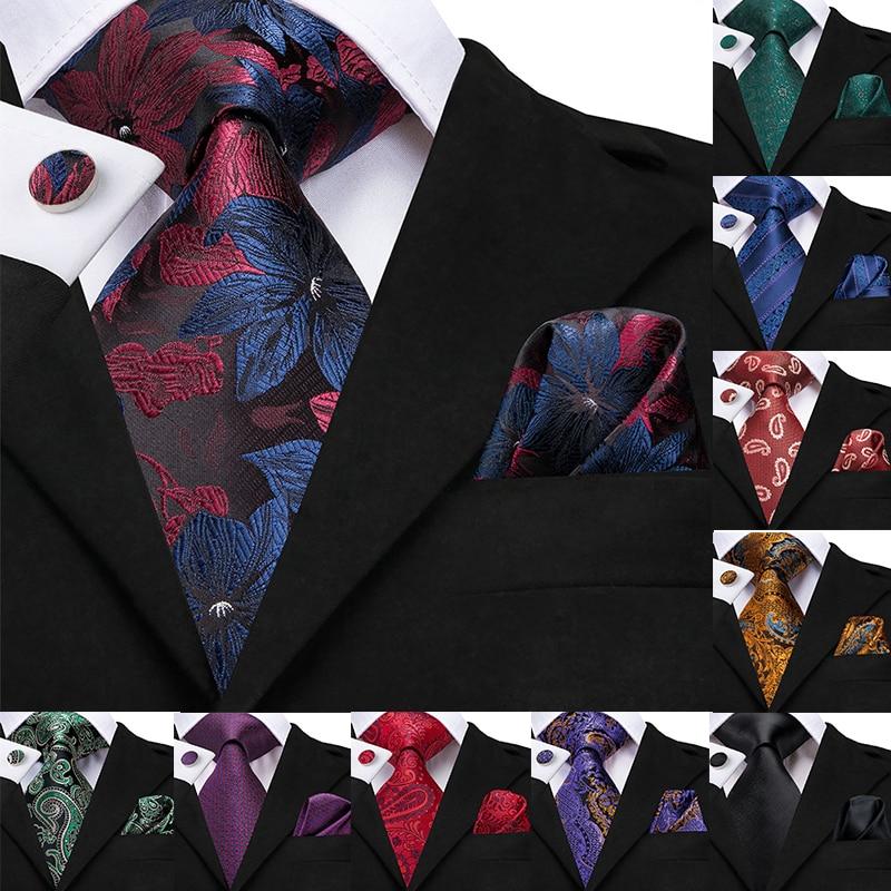 Hi-Tie Luxury Silk Men's Tie Paisley Handkerchief Cufflinks Set Ties For Men Green Gold Red Fashion Classic Party Wedding Tie