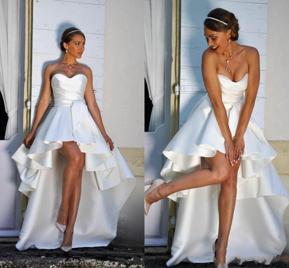 Sweetheart Vintage High Low Short Beach Wedding Dresses Satin Ruched Zipper Back Bridal Gowns For Bride