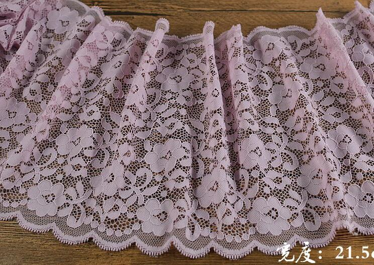 2 Meters Purple Color Floral Venice Guipure Bridal Sewing Lace Trim Elastic Flower Pattern Lace Fabric 21.5cm