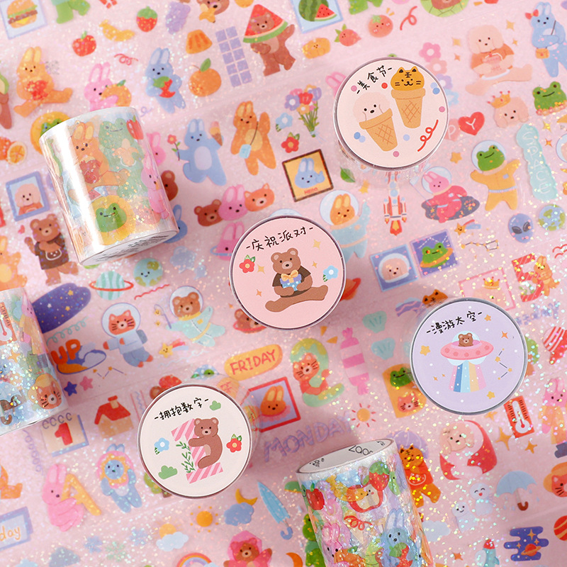 Kawaii Animals Washi Tapes Cute Bear Masking Tape Diy Decor Journal Korean Tape For For Diy Planners Scrapbook Gift Wrapping