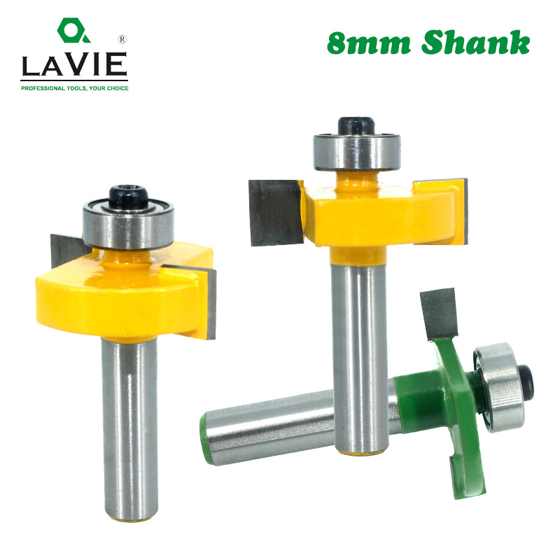 1pc 8mm Shank T-Sloting Router Bit Bit With Bearing Wood Slot Milling Cutter T Type Rabbeting Woodwork Tool For Wood MC02091