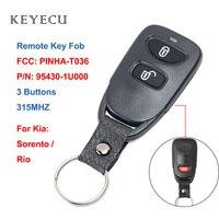Keyecu Kia Rio için Sorento 2009 2010 2011 yedek uzaktan kumanda araba anahtarı Fob 3 düğmeler 315 MHz  FCC ID: PINHA-T036