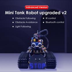 ¡Nuevo! Mini Robot de tanque de bricolaje keyesstudio V2.0 Smart Robot kit de coche para Arduino Robot STEM/Mixly bloques de codificación/soporte aplicación IOS y Android