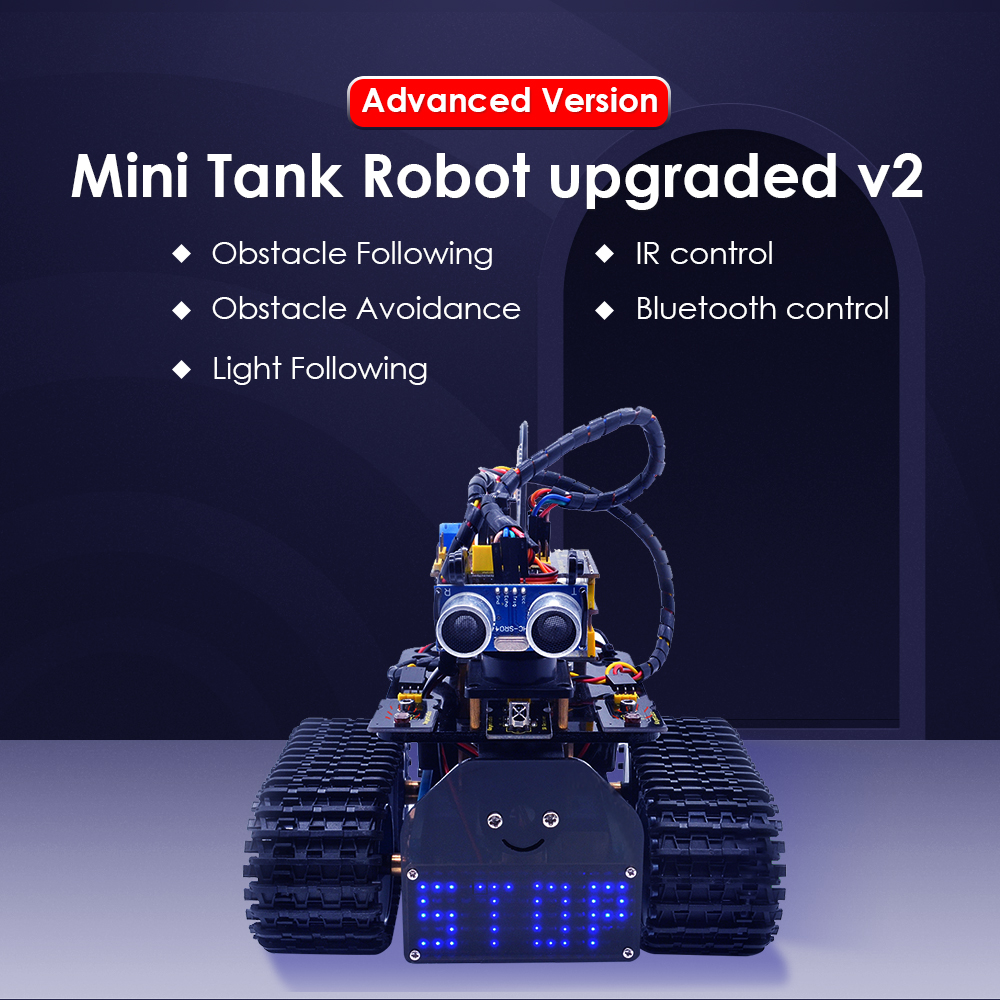 NEW!Keyestudio DIY Mini Tank Robot V2.0 Smart Robot Car Kit For Arduino Robot STEM /Mixly Blocks Coding/Support IOS &Android APP