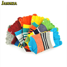 Fashion Brand Summer Winter New Mens Happy Socks Patchwork Colorful Five/5 Finger Cotton Toe Dress Sock Men Breathable
