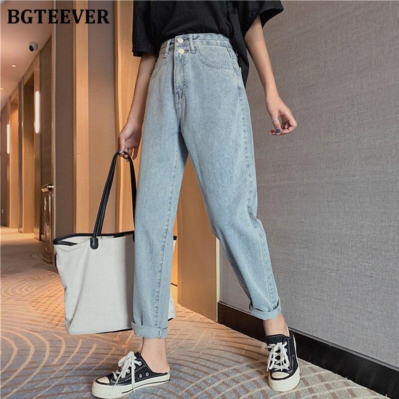 BGTEEVER Chic droit Double bouton femmes jean taille haute Denim pantalon 2020 printemps été jean pantalon femme Streetwear