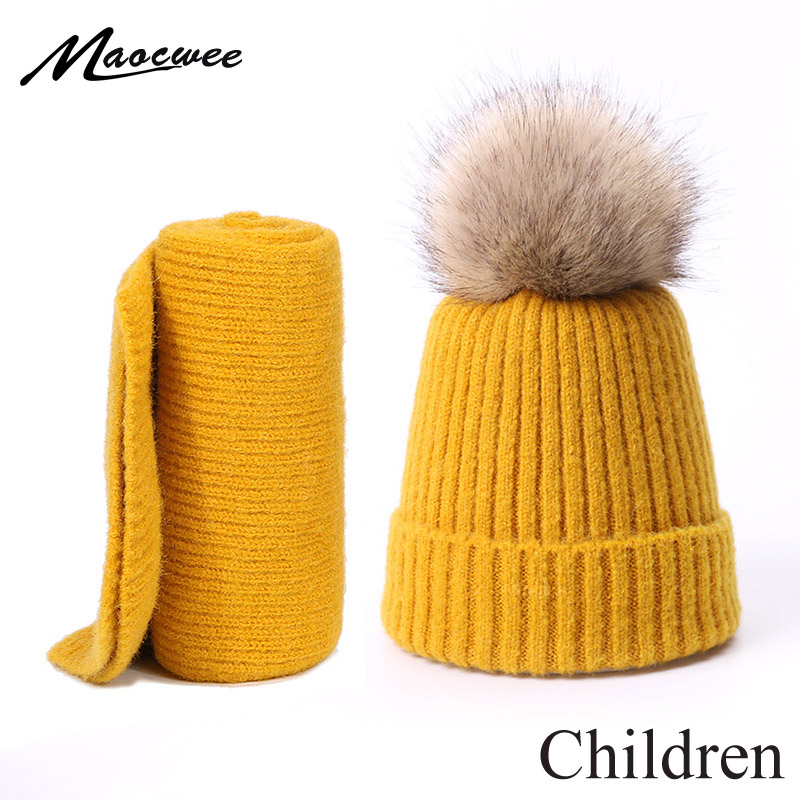 Tow-piece Set Baby Winter Faux Fur Pompon Hat And Scarf Knitting Warm Outdoor Thick Windproof Children Pure Color Hat Scarf Set