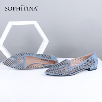 SOPHITINA Hollow Out New Flats High Quality Kid Suede Sexy Pointed Toe Comfortable Leisure Shoes Handmade Women's Flats PC681