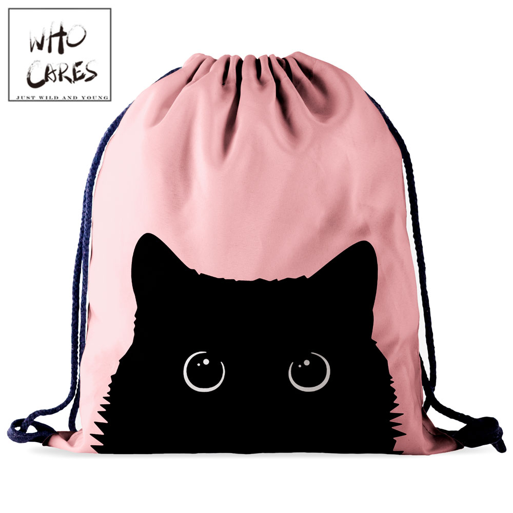 Who Cares Drawstring Bag Gym Pouch Bag Pink 3D Printing Cat Backpack Women Portable Shopping Fashion School Shoe Bag For Girl