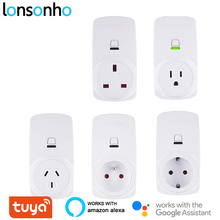 Lonsonho Tuya Smartlife Smart Plug Wifi Smart Socket EU FR UK US AU Outlet 10A 16A Compatible Alexa Google Home Automation