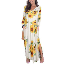 Long Bohemia Women Dress Fashion Print Full Sleeve V-Neck Maxi Autumn Dress Plus Size Loose Casual Knitted Vestidos Beach Robe feitong casual womens autumn dress solid knitted long sleeve batwing sleeve v neck ladies loose mini beach dresses vestidos