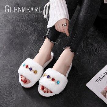 Для женщин шлёпанцы для женщин зимняя обувь теплые роскошные стразы домашние тапочки на меху; домашняя обувь; повседневная обувь без застеж...