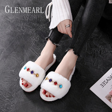 Women Slippers Winter Shoes Warm Luxury Rhinestone Home Slippers Fur Indoor Shoes Slip On Casual Shoes Flats Woman Slides New DE warm cat winter shoes women home slippers comfort home shoes for women plus indoor shoes fur slippers