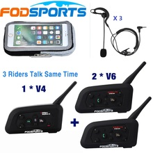 1 *V4+2 *V6 BT Interphone 3 Riders Talking at the same time for Football Referee Judge Bike Wireless Bluetooth Headset Intercom v6 1200m motorcycle helmet bt intercom bluetooth headset wireless interphone rider headphone suitable for football referee judge