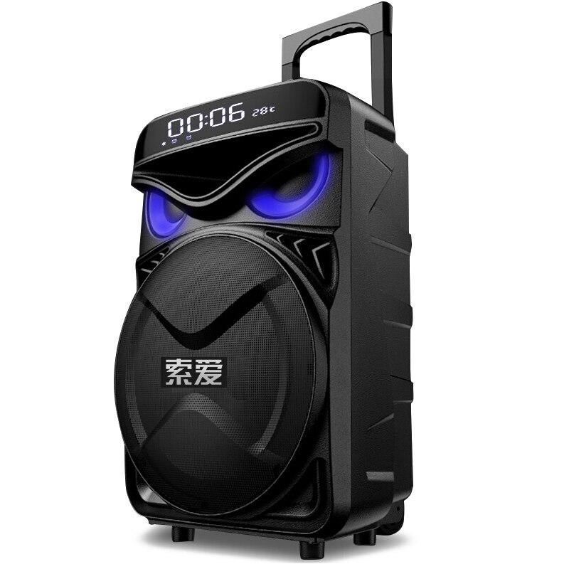 Portable hibou oeil DJ haut-parleur Bluetooth 12 pouces 4400mAh 300W grand chariot de puissance haut-parleur extérieur Subwoofer stéréo haut-parleur de fête à la maison