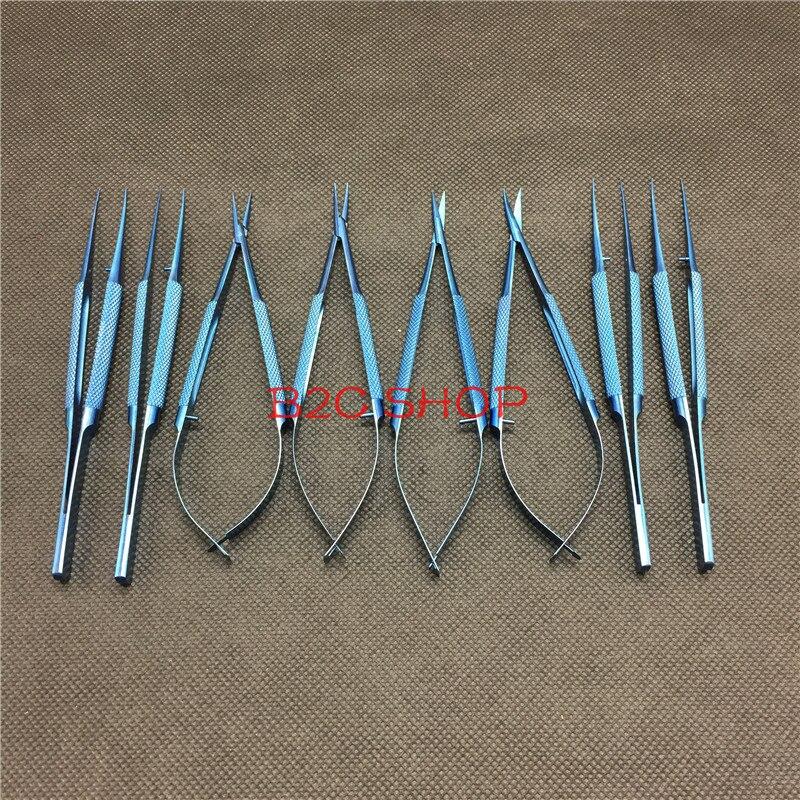 12.5CM Titanium Ophthalmic Tweezers Microsurgical Instruments Scissors 10.5CM Micro Forceps Tweezers Microsurgical Tools