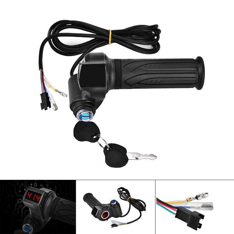 Digital Handlebar Electric Bike Throttle Anti-skid 1 Pair Outdoor Scooters Parts 24 <font><b>36</b></font> 48 60 72V image