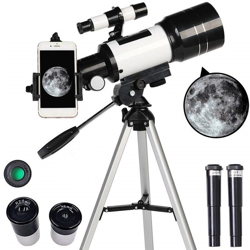 Astronomical Telescope Monocular Tripod Gift Professional Travel Outdoor Kids 70mm 300mm title=