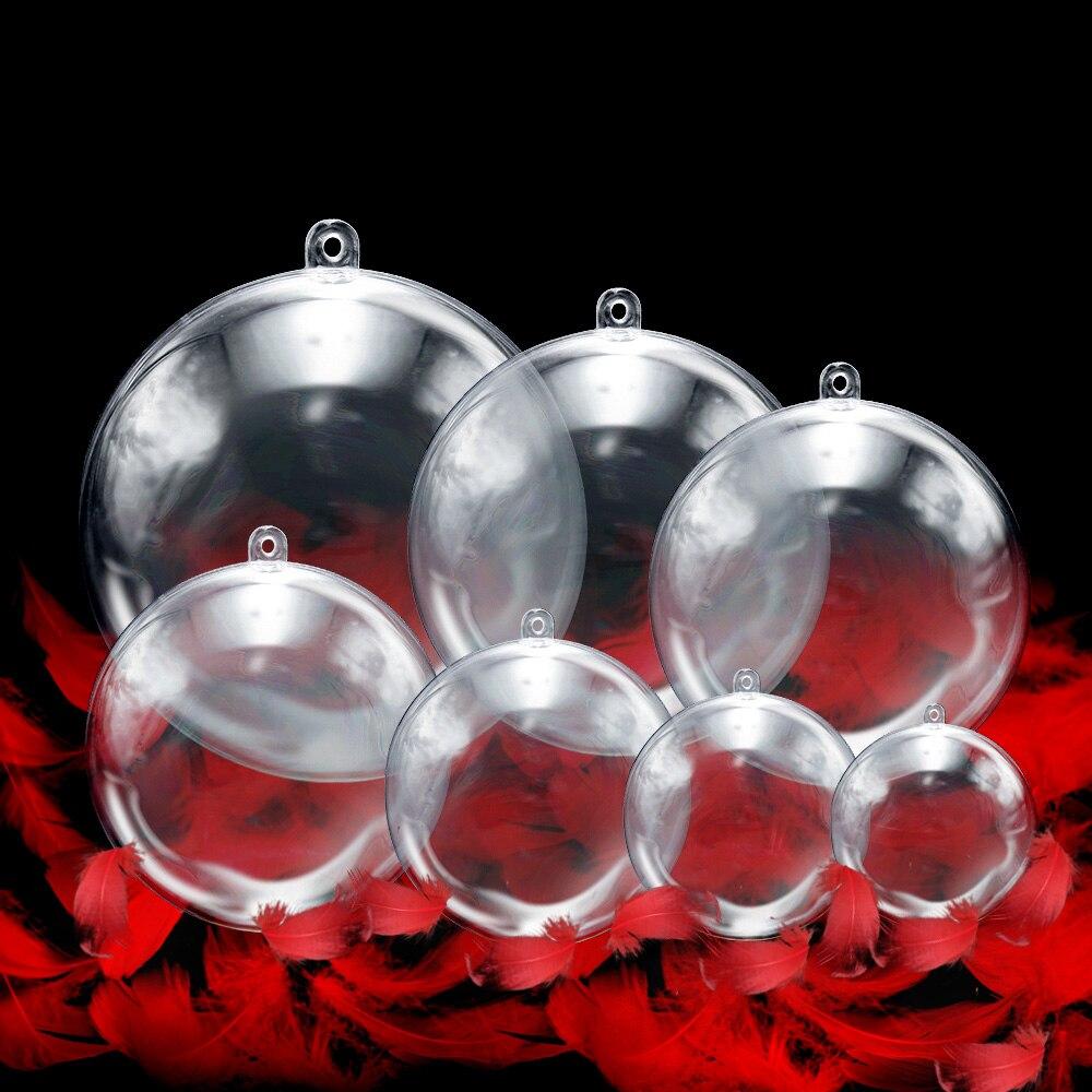 20PC/10Pairs Christmas Ball Tress Decorations 3cm-6cm Transparent Open Plastic Clear Bauble Ornament Gift Present Box Decoration