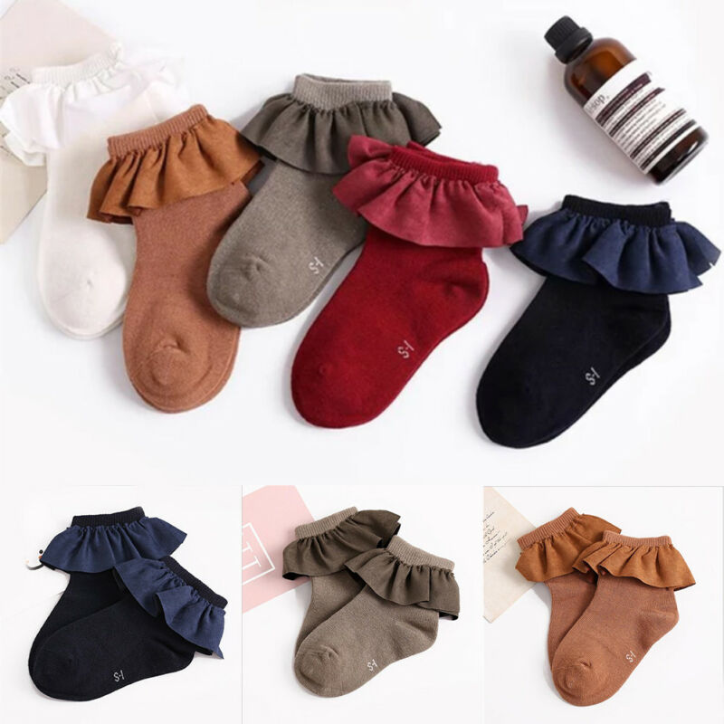 5 Color Kid Short Socks With Lace Welt Funny Happy Knitted Infant Newborn Toddler Baby Socks For Girls Age 2-8 Years Old Booties