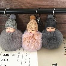 10Pcs Sleeping Baby Doll Keychain Pompom Rabbit Fur Ball Key Chain Car Keyring Women Key Holder Bag Pendant Charm Accessories