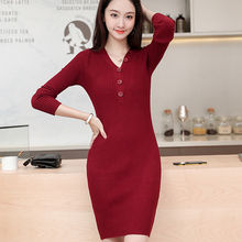 Fashion Autumn Sweater Dress Women Knitted Dresses Woman V-neck Sweater Dresses Elegant Women Sweaters Dress Plus Size Vestidos vestidos elegant sweater dress women v neck warm knitted autumn casual winter dresses women 2016 plus size lj7214t