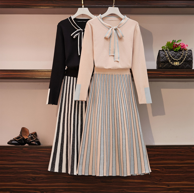 Large Size WOMEN'S knittedsuit 2019 Autumn And Winter Chubby WOMEN'S Bow Tops Skirt By Age Two-Piece Set