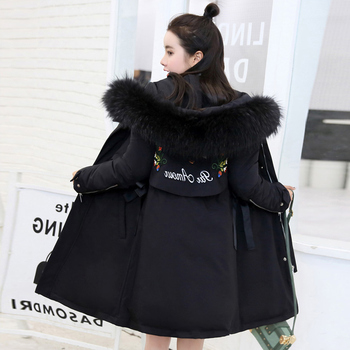 Long Women Embroidery Cartoon Winter Sleeve Hooded Fur Collar Cotton Outerwear Female Loose Casual Comfortable Outerwear ZX1189 фото