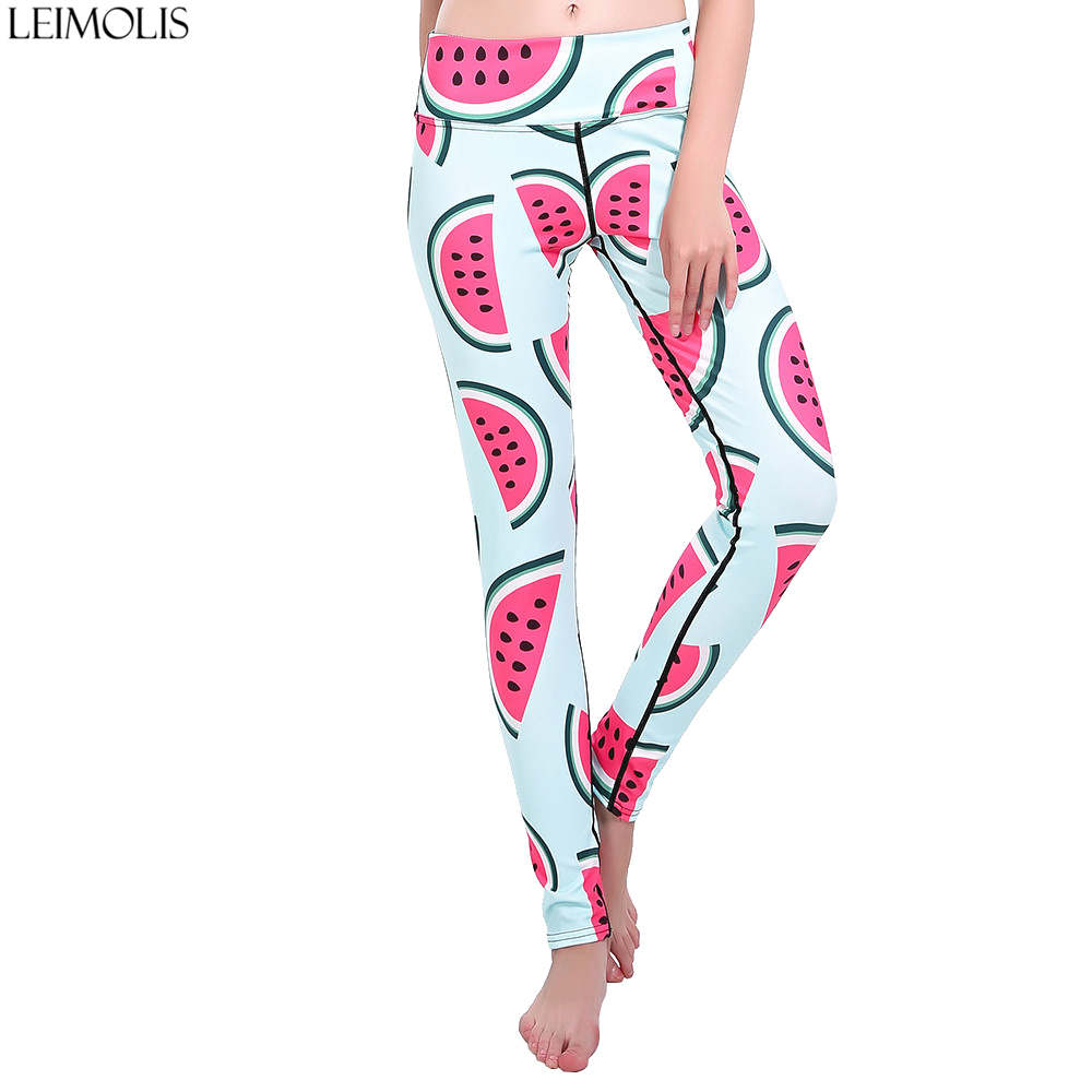 LEIMOLIS Cartoon Gradient Color Fruits Animal Print Harajuku High Waist Workout Push Up Plus Size Fitness Leggings Women Pants