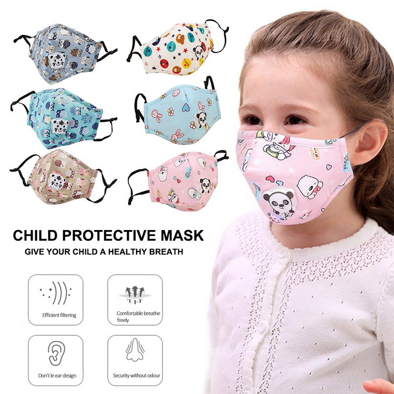 PM2.5 Winter Children Mask Respiratory Valve Cartoon Panda Thicken  Mask Warm Dust Mask Fits 2-10 Years Old Kids