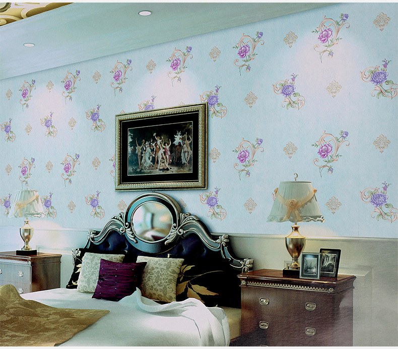 Korea Style With Flower Light Cyan Color Wall Paper Modern Design  Home Decoration Sticker Hot Sell.