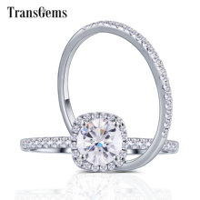 TransGems 18K 750 White Gold Center 6.5mm Round Moissanite with Halo Eternity Band Engagement Ring for Women Set Gold Jewelry
