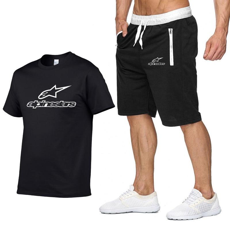 Tracksuit Men Sets High Mountain Star Print T Shirts+Shorts Suit Casual T-shirt Sportswear Fashion Short Sleeve Short Pants Sets