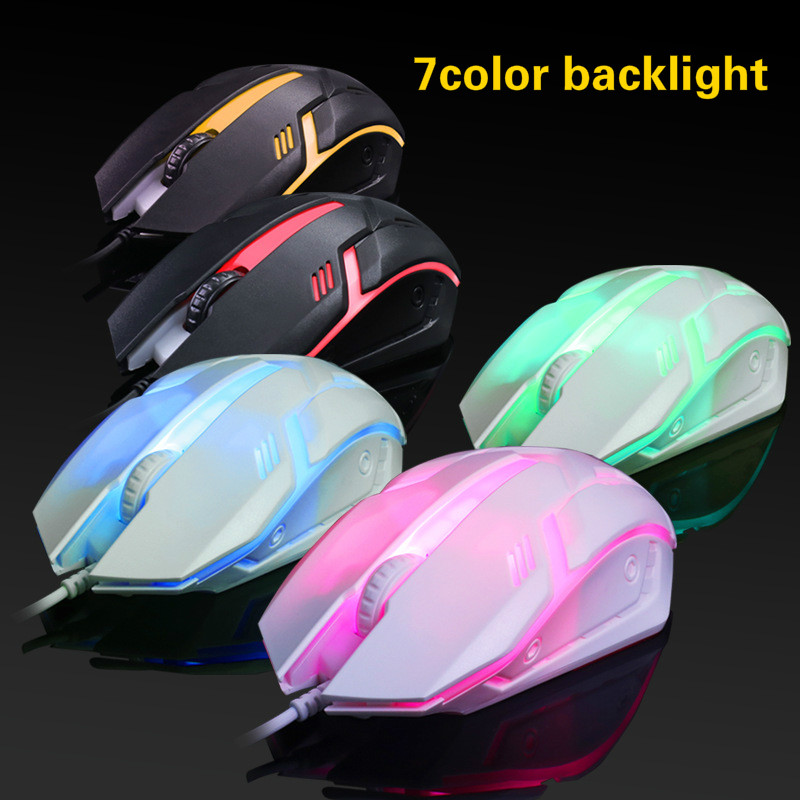 Brand New 7 Colors LED Backlit Gaming Mouse USB Wired Computer Mouse 2000dpi Optical Ergonomics Laptop Pc Gaming Mouse