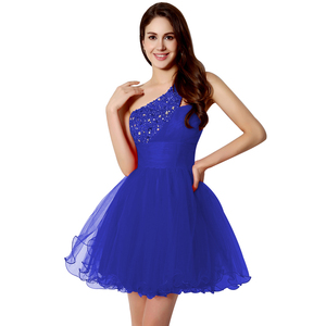 Image 4 - Sexy One Shoulder Short Graduation Dresses Beading Fashion Crystal Red Tulle Homecoming Cocktail Gowns vestidos de fiesta OS230