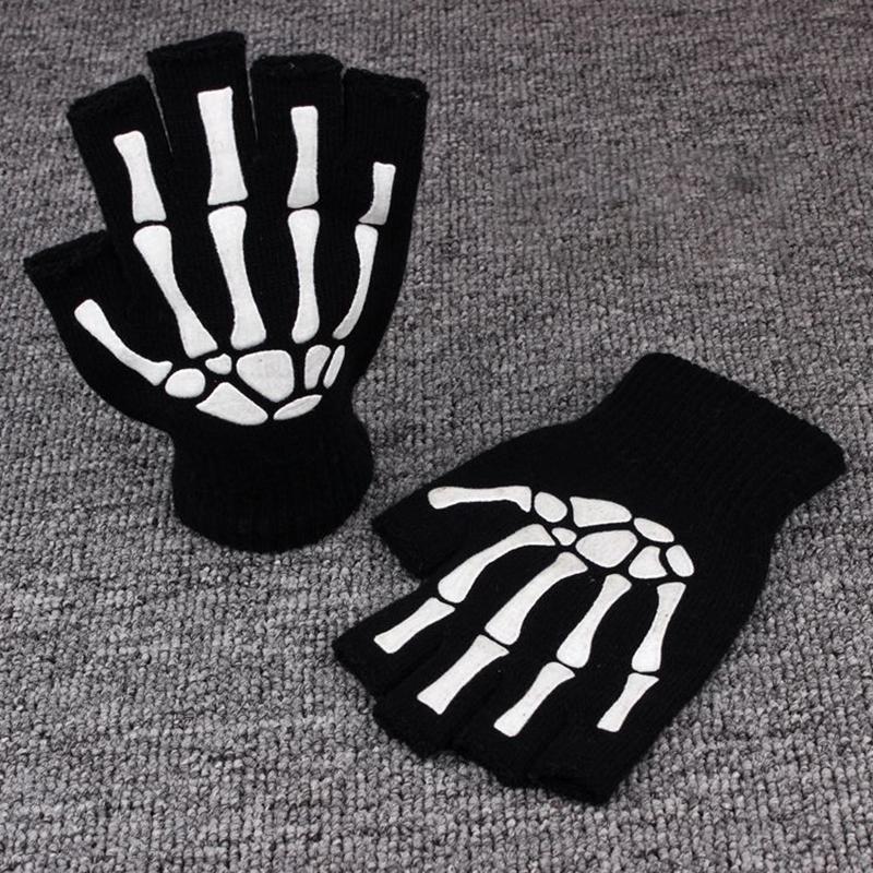 Printing Fluorescent Skeleton Skull Knitted Half Finger Gloves Cool Autumn Winter Black Ridding Knitting Gloves for Children