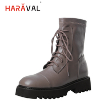 HARAVAL Vintage Women Winter Ankle Boot Quality Genuine Leather Round Toe Thick Heel Shoes Solid Lace-up Soft Fashion Boots B211