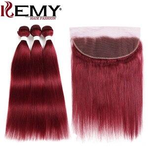 Image 4 - 99J/bordo insan saçı demetleri ile Frontal 13x4 ön renkli brezilyalı düz saç örgü demetleri kapatma olmayan Remy KEMY