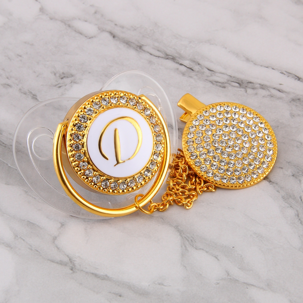 Bling Bling Baby Pacifier Rhinestone White Pearl Crystal Silicone Soother Diamond Baby Dummy Pacifier Clip