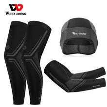 WEST BIKING – protège-bras et jambières en soie glacée, respirant, Protection contre les UV, cyclisme, course, Fitness, basket-ball, Sport en plein air