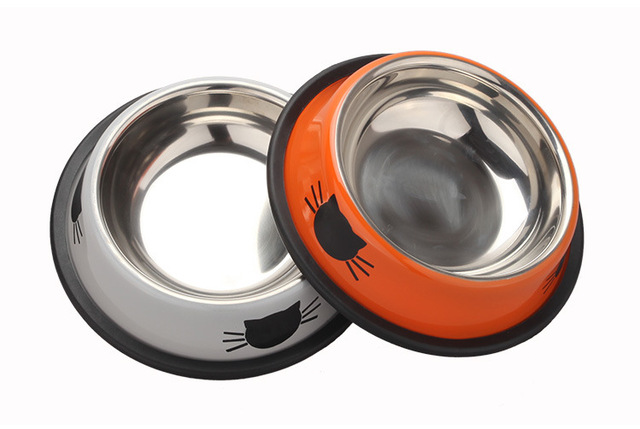 Pet Dog Bowl Durable Stainless Steel Paint Feeding Dishes Non-Slip   2
