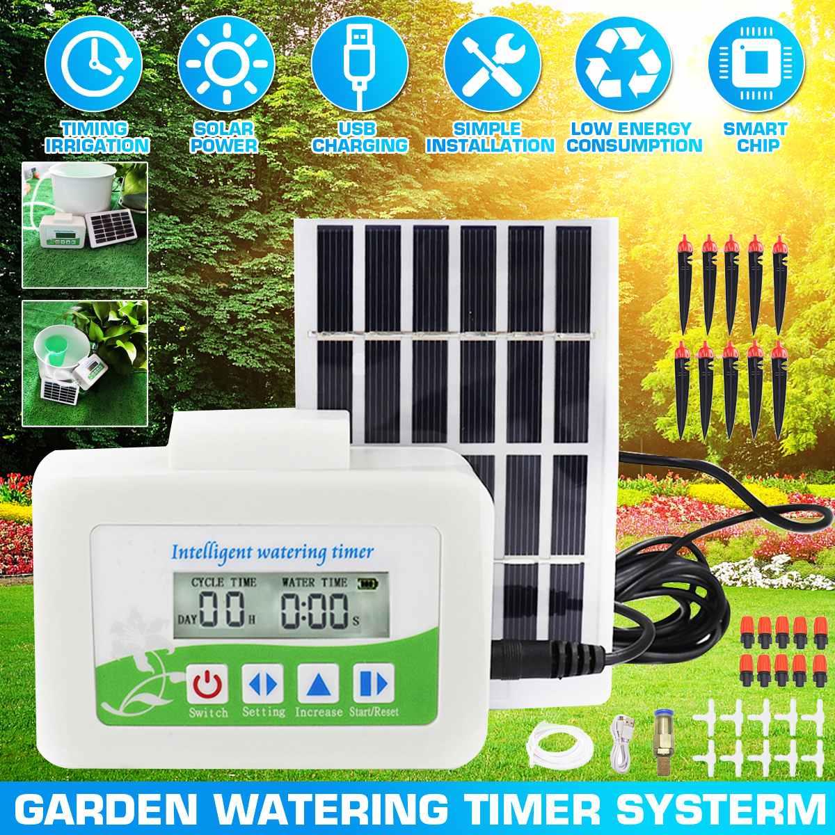 Tropf Bewässerung Solar Bewässerung System Outdoor Garten Automatische Bewässerung Timer Solar Lade Gerät Anlage Bewässerung Düse