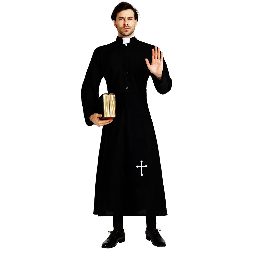 Image 2 - Umorden Adult Black Noble Priest Costume Men Religious Pastor Father Costumes Halloween Purim Party Mardi Gras Fancy Dress-in Holidays Costumes from Novelty & Special Use