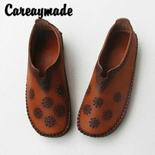 Careaymade-Leather Soft Flat sole Single Shoes,Hand-made Hollow-out and Breathable Womens Shoes,New Style in Spring of 2019