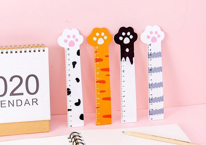 1PC Wooden Rulers Cute Cat Kawaii Paw 15cm Straightedge For Kids Gift Measuring Tools Student Stationery School Office Supplies